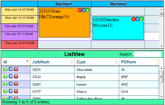 Web based scheduling software for manufacturing